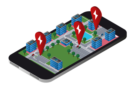 City map in a mobile phone with an application to search for electric vehicles charging stations. Vector illustration.