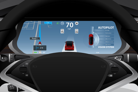 Self driving electric car dashboard display closeup. Vector illustration