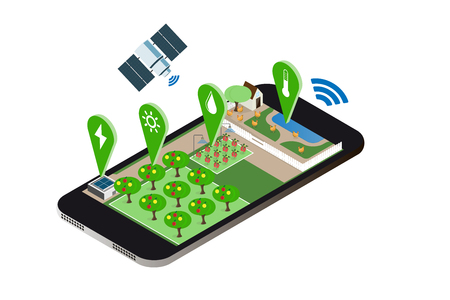 farming control technology, isometry Ilustrace