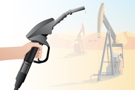 Hand with a fuel nozzle on the background of oil rigs. The concept of a bad future with pollution. Vector illustration
