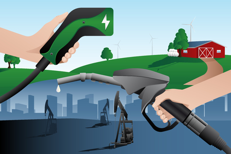 Hand with charging plug for electric vehicle and hand with fuel nozzle. Alternative future with renewable energy. Vector illustration