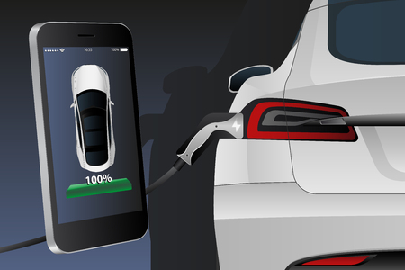 Mobile phone on a background of charging electric car. On a device screen indicator of power reserve. Vector illustration