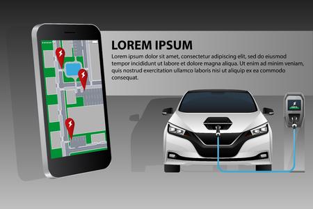 Teléfono móvil en el fondo de un coche eléctrico de carga. En la pantalla hay un mapa con la ubicación de las estaciones de carga.