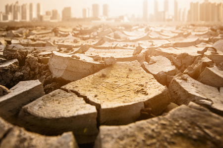 Post-apocalyptic landscape. City after the effects of global warming. Climate changes concept. Zdjęcie Seryjne