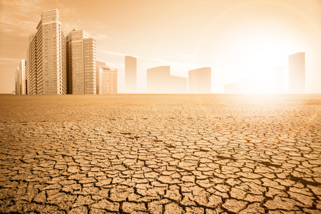 Post-apocalyptic landscape. City after the effects of global warming. Climate changes concept. Stock Photo