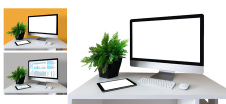 Mockup of workplace with computer and tablet isolated on white with examples of use