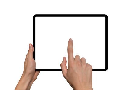 Tableta digital en manos. Aislado sobre fondo blanco Foto de archivo