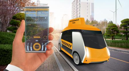 Control of autonomous taxi by futuristic smartphone with mobile app . Concept. Фото со стока