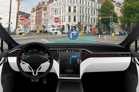 Self driving car on a road. Autonomous vehicle. Inside view. Zdjęcie Seryjne