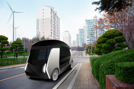 Futuristic autonomous bus on the city street.