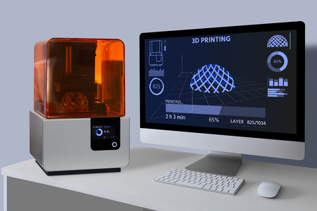A 3d printer in the laboratory prints a structure from a photopolymer.