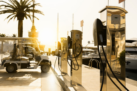 Electric car charging station   by the sea Imagens