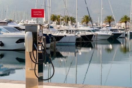 Electric car charging station   by the sea Zdjęcie Seryjne