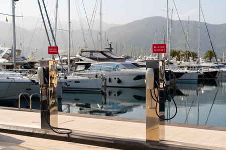 Electric car charging station  by the sea