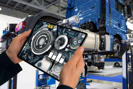 Repairing a truck with augmented reality