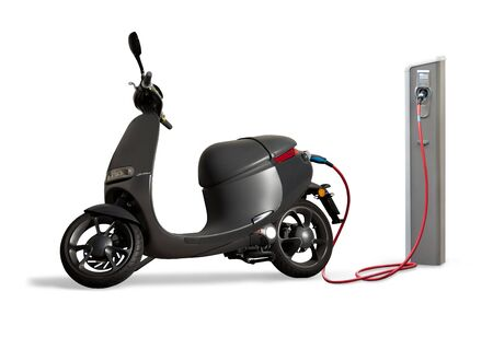 Electric scooter for sharing with charging station on a city street