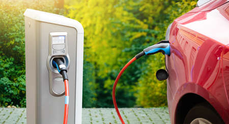 Charging station for electric car. Stockfoto