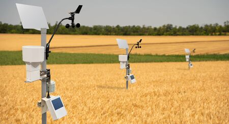 Weather station in a wheat field. Precision farming equipment