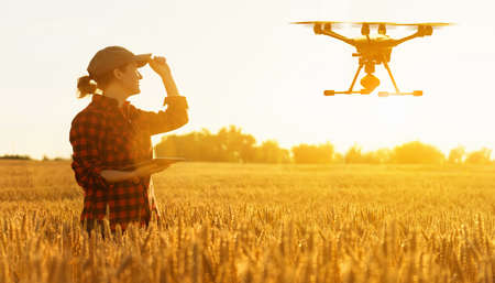 Woman farmer controls drone with a tablet Stockfoto