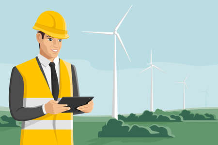 Engineer with tablet computer on a background of wind turbines. Vector illustration