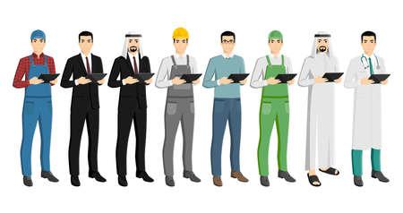 Set of man with a digital tablet Vecteurs