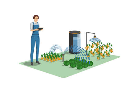 Greenhouse with wireless control. Digital transformation in agriculture and smart farming. Vector illustration