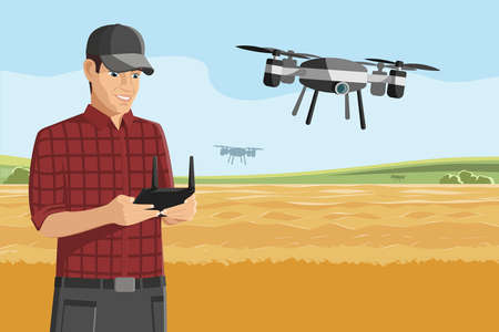 Farmer control drone on a wheat field. Digital transformation in agriculture and smart farming.