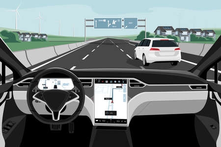 Self driving car on a road. Autonomous vehicle. Inside view. Illustration