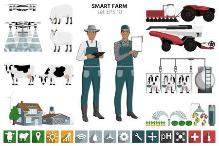 Smart farming set. Modern farmers with digital tablet, autonomous harvester, tractor and drone. Elements for design and infographics. Ilustração Vetorial