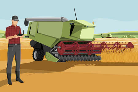 Farmer with autonomous harvester on a smart farm.