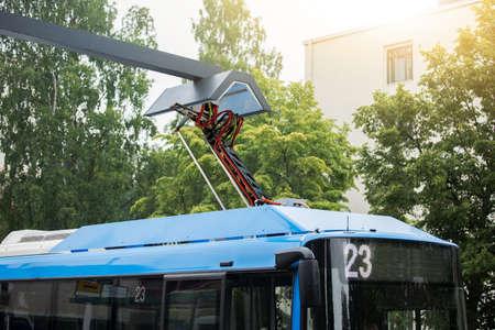 Electric bus is charged by pantograph Zdjęcie Seryjne