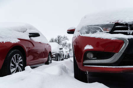 Parked cars covered with snow