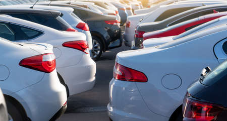 Cars in a row. Used car sales Фото со стока