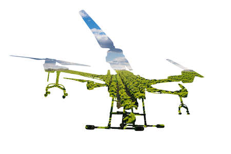 Silhouette of a drone with agricultural field Фото со стока
