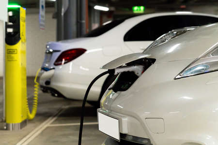 Electric cars are charged from the charging station