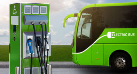 Electric bus with charging station