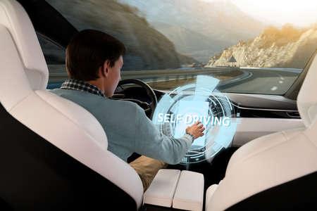 Driver controls an autonomous car
