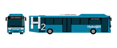 A hydrogen fuel cell bus concept. Vector illustration