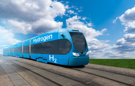 A hydrogen fuel cell train stands at the station
