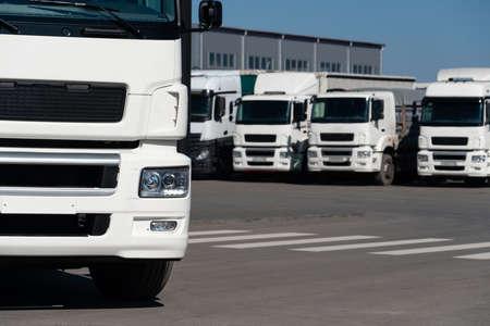 Truck fleet at the logistics center Imagens