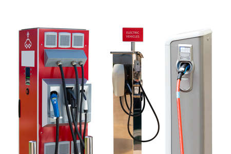 Set of electric vehicles charging stations