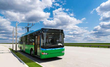 Electric bus at a stop 版權商用圖片