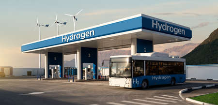 Fuel cell bus at the hydrogen filling station. Concept Stock fotó