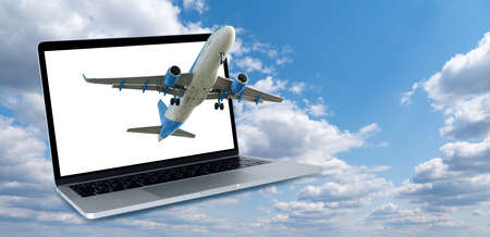 Airplane on the background of a laptop