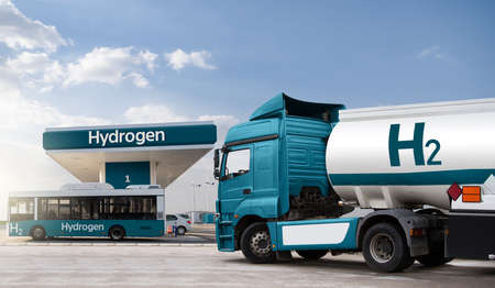Truck with hydrogen fuel tank trailer on a background of H2 filling station. Concept