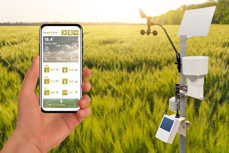 Farmer control weather station via mobile app Foto de archivo
