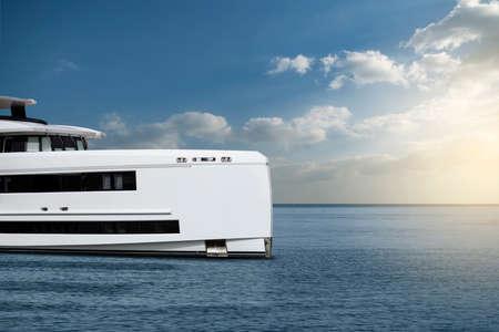 Modern luxury white yacht