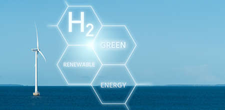 Green hydrogen from renewable energy sources Stockfoto