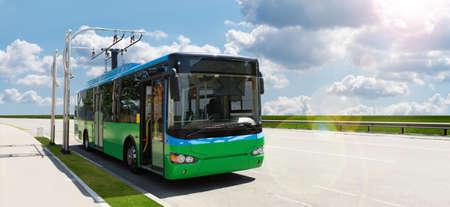 Electric bus at a stop Standard-Bild