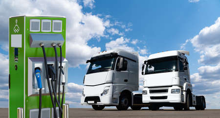 Electric trucks with charging station